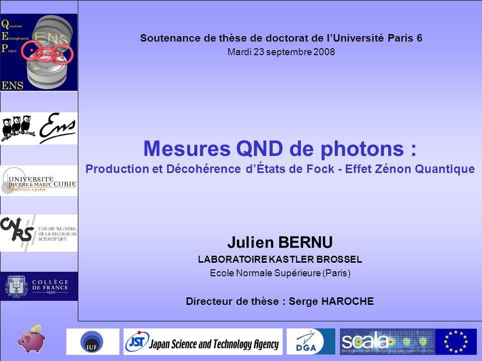 1 Mesures QND de photons : Production et Décohérence dÉtats de Fock - Effet Zénon Quantique Julien BERNU LABORATOIRE KASTLER BROSSEL Ecole Normale Sup
