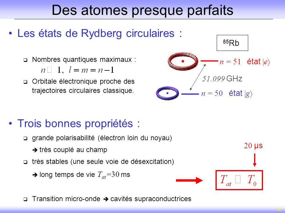 10 Des atomes presque parfaits Les états de Rydberg circulaires : Nombres quantiques maximaux : Orbitale électronique proche des trajectoires circulai
