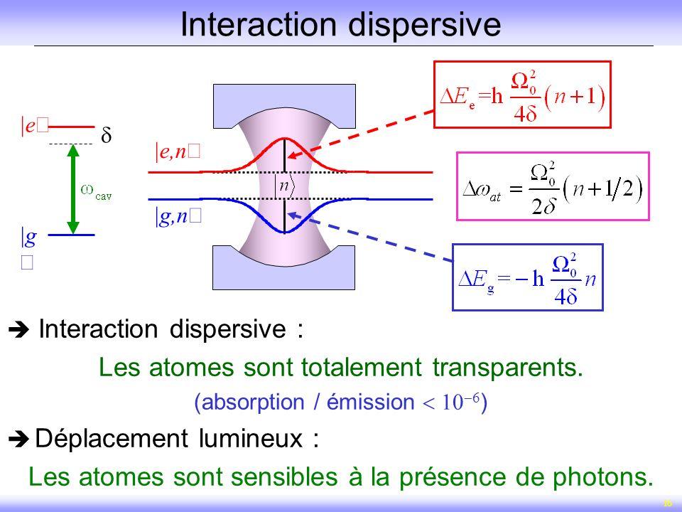 16 Interaction dispersive Interaction dispersive : Les atomes sont totalement transparents. (absorption / émission ) Déplacement lumineux : Les atomes