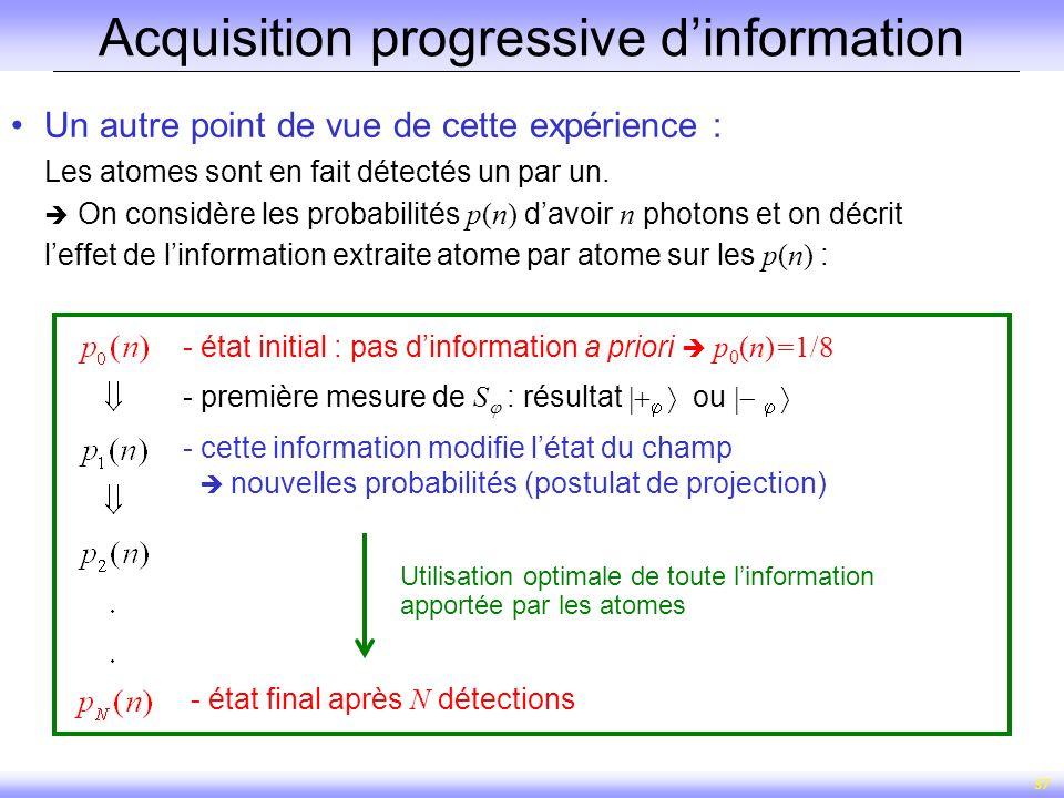 37 Acquisition progressive dinformation Un autre point de vue de cette expérience : Les atomes sont en fait détectés un par un. On considère les proba