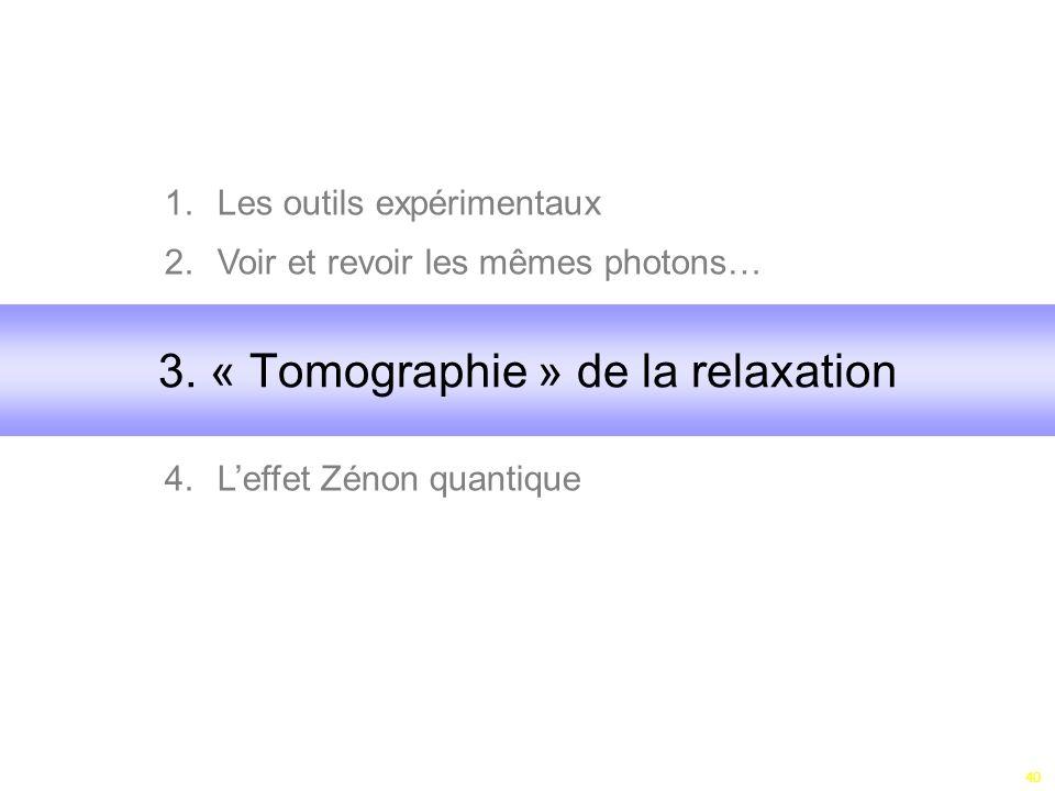 40 1.Les outils expérimentaux 2.Voir et revoir les mêmes photons… 3. 4.Leffet Zénon quantique 3. « Tomographie » de la relaxation
