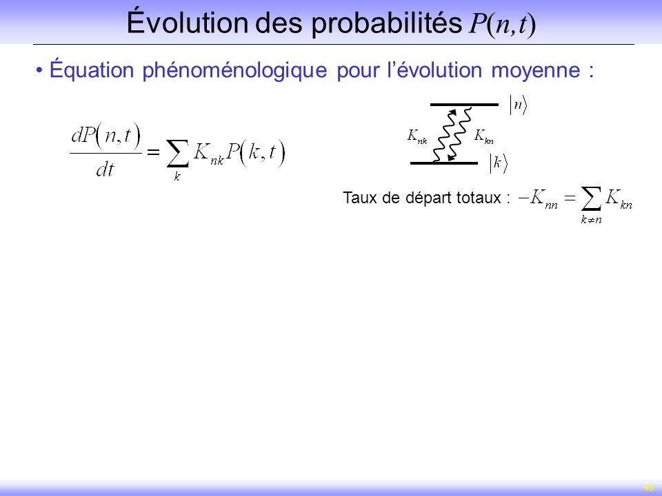 43 Évolution des probabilités P(n,t) Équation phénoménologique pour lévolution moyenne : Taux de départ totaux :