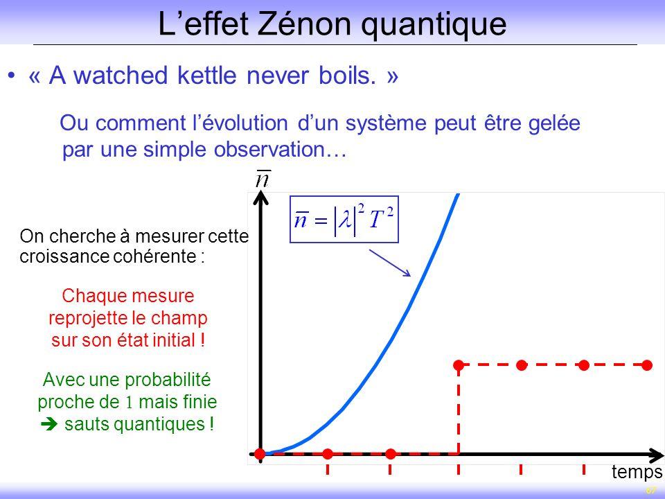 67 Leffet Zénon quantique temps « A watched kettle never boils. » Ou comment lévolution dun système peut être gelée par une simple observation… Chaque