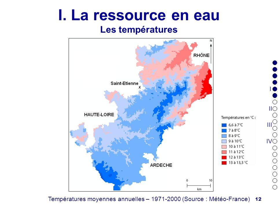 12 I. La ressource en eau Les températures Températures moyennes annuelles – 1971-2000 (Source : Météo-France) I II III IV