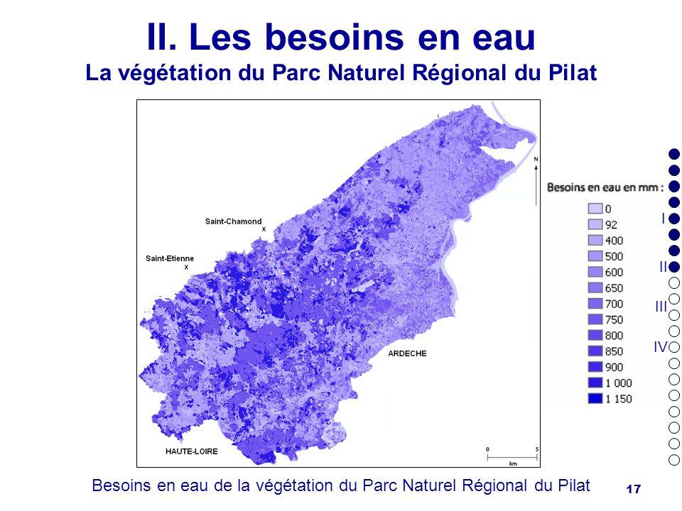 17 II. Les besoins en eau La végétation du Parc Naturel Régional du Pilat Besoins en eau de la végétation du Parc Naturel Régional du Pilat I II III I