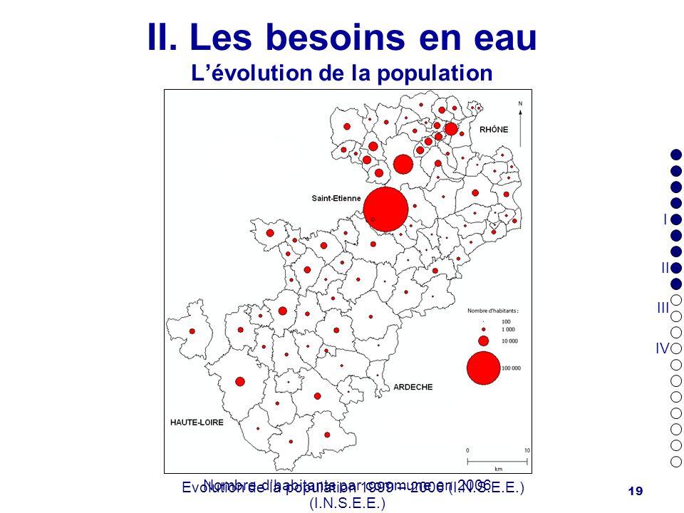 19 II. Les besoins en eau Lévolution de la population Evolution de la population 1999 – 2006 (I.N.S.E.E.) Nombre dhabitants par commune en 2006 (I.N.S