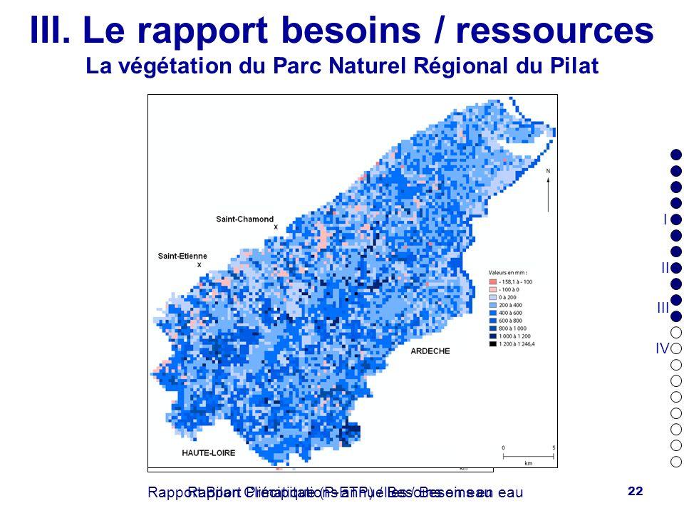 22 III. Le rapport besoins / ressources La végétation du Parc Naturel Régional du Pilat Rapport Précipitations annuelles / Besoins en eauRapport Bilan