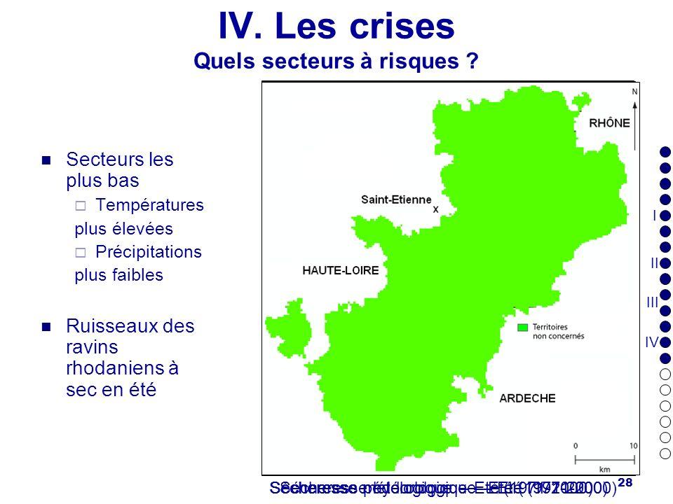 28 IV. Les crises Quels secteurs à risques ? Secteurs les plus bas Températures plus élevées Précipitations plus faibles Ruisseaux des ravins rhodanie