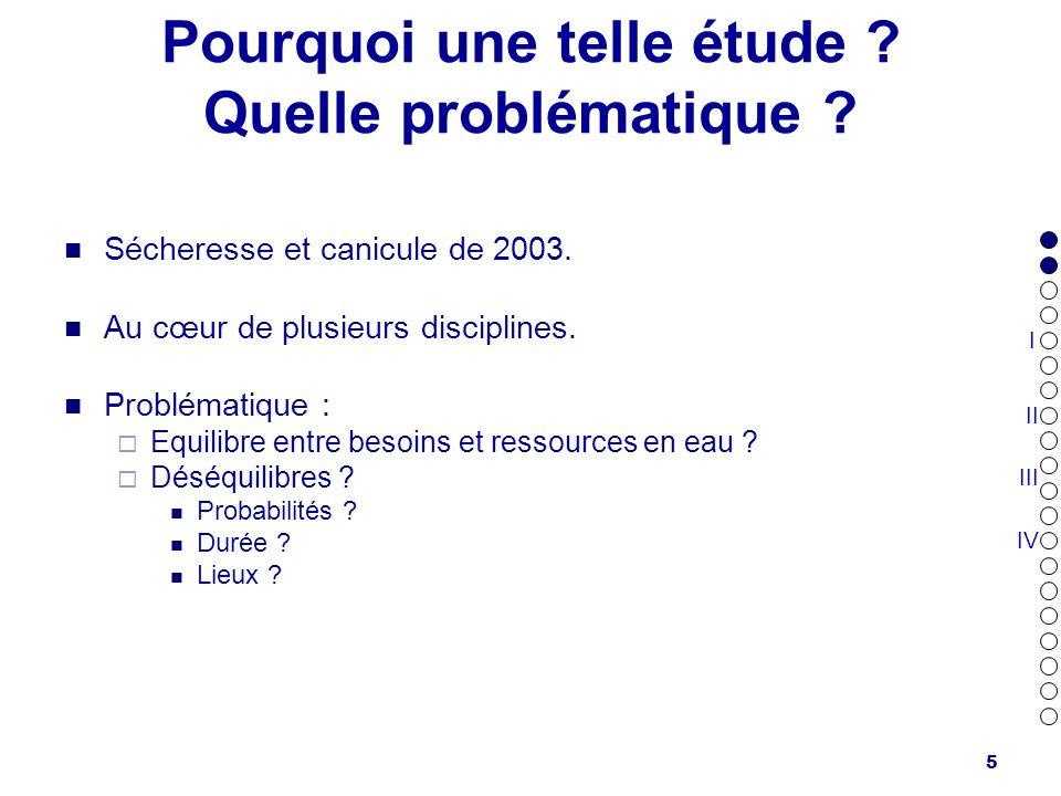 5 Pourquoi une telle étude ? Quelle problématique ? Sécheresse et canicule de 2003. Au cœur de plusieurs disciplines. Problématique : Equilibre entre