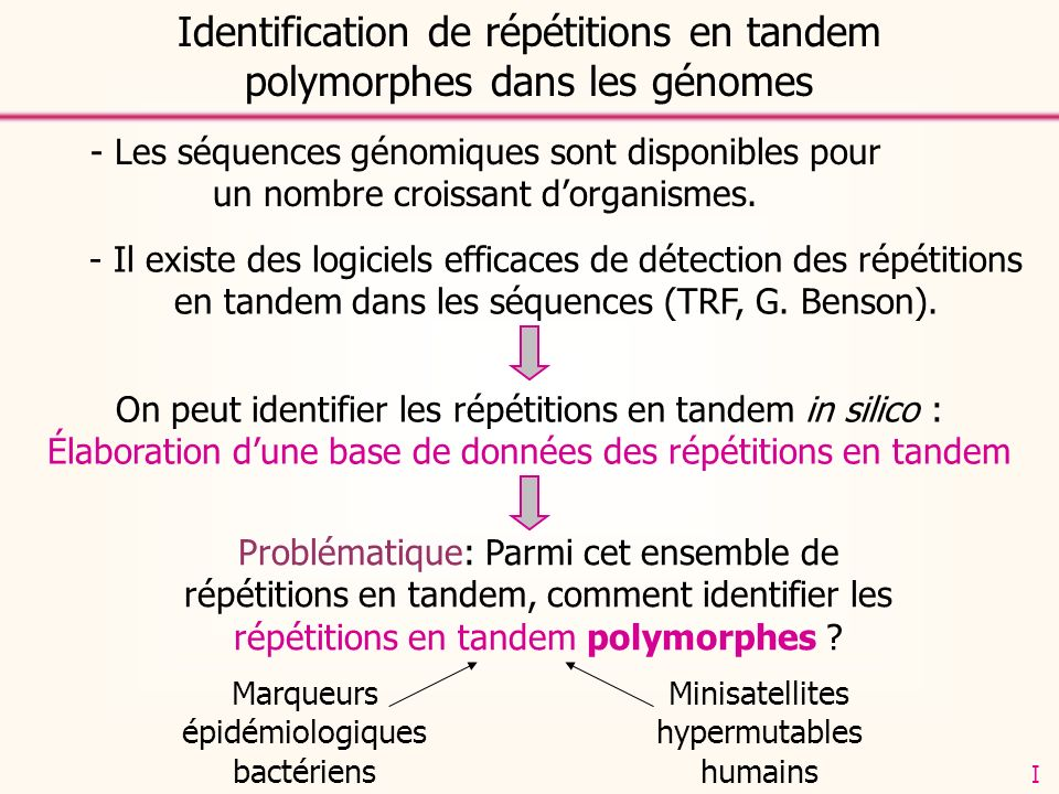 Identification de répétitions en tandem polymorphes dans les génomes - Les séquences génomiques sont disponibles pour un nombre croissant dorganismes.