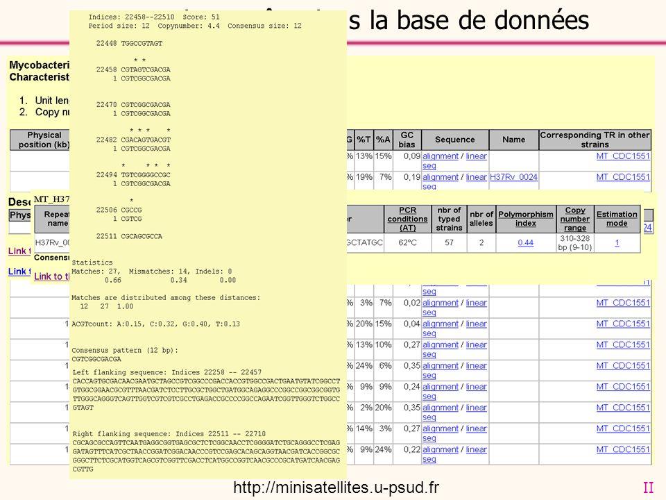 La page de requête dans la base de données http://minisatellites.u-psud.fr II