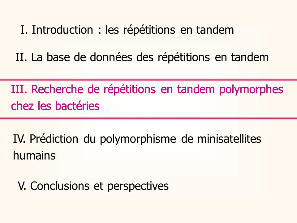 I. Introduction : les répétitions en tandem II. La base de données des répétitions en tandem IV. Prédiction du polymorphisme de minisatellites humains
