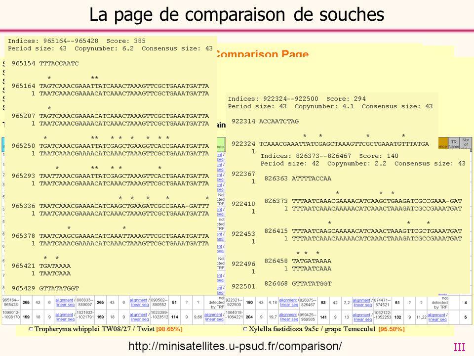 La page de comparaison de souches http://minisatellites.u-psud.fr/comparison/ III