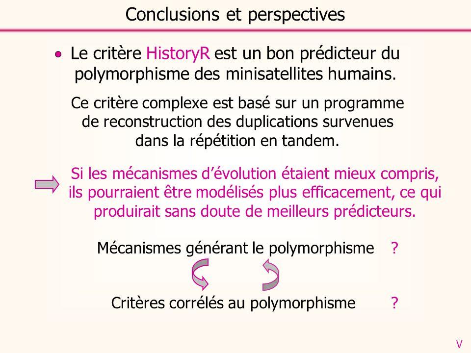 Conclusions et perspectives Le critère HistoryR est un bon prédicteur du polymorphisme des minisatellites humains. Ce critère complexe est basé sur un