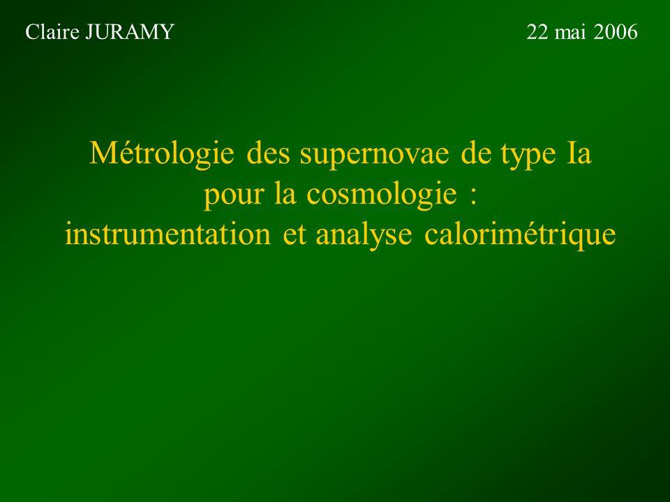 Métrologie des supernovae de type Ia pour la cosmologie : instrumentation et analyse calorimétrique Claire JURAMY22 mai 2006