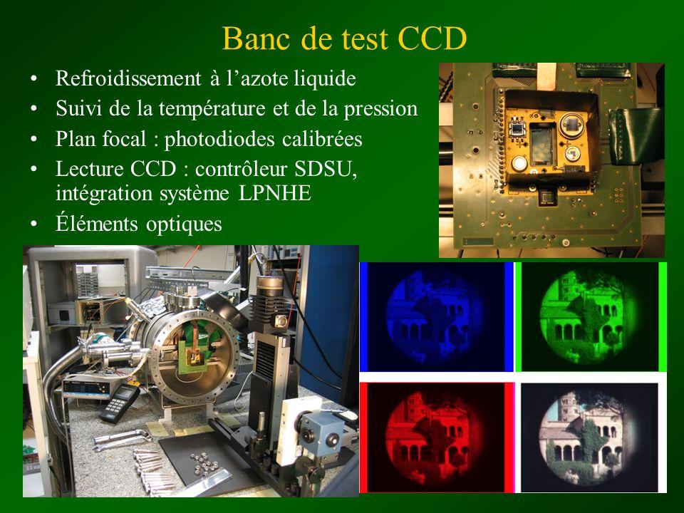 Banc de test CCD Refroidissement à lazote liquide Suivi de la température et de la pression Plan focal : photodiodes calibrées Lecture CCD : contrôleu