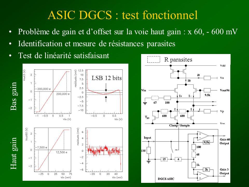 ASIC DGCS : test fonctionnel Problème de gain et doffset sur la voie haut gain : x 60, - 600 mV Identification et mesure de résistances parasites Test