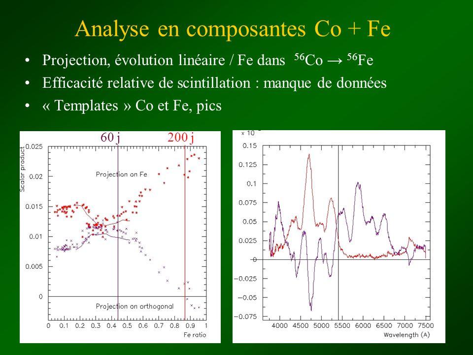 Analyse en composantes Co + Fe Projection, évolution linéaire / Fe dans 56 Co 56 Fe Efficacité relative de scintillation : manque de données « Templat