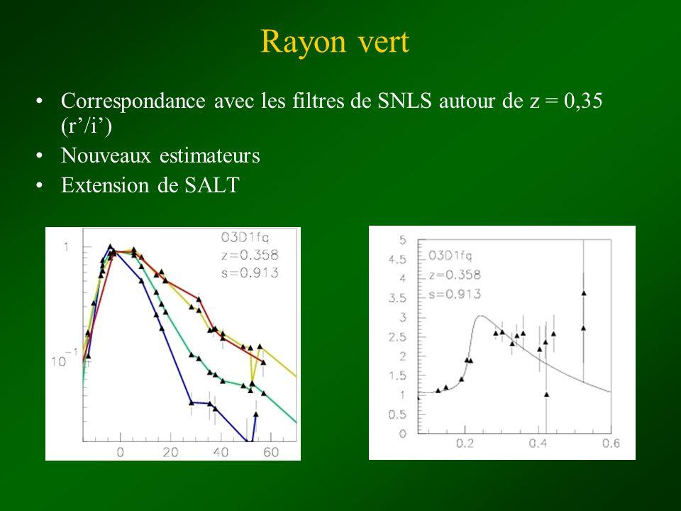 Rayon vert Correspondance avec les filtres de SNLS autour de z = 0,35 (r/i) Nouveaux estimateurs Extension de SALT