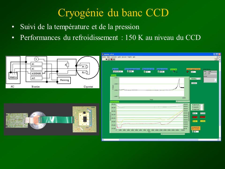 Cryogénie du banc CCD Suivi de la température et de la pression Performances du refroidissement : 150 K au niveau du CCD