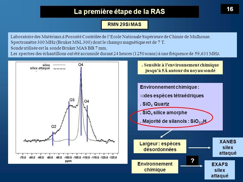 La première étape de la RAS Silice amorphe tétraèdres non distordus à la différence des silices cristallisées Si-O : une valeur moyenne = 1,61 Å Si-O : une distribution de valeur : 2 x 1,616 Å 2 x 1,598 Å Silanols Q 3 et Q 2 tétraèdres avec une ou deux liaisons pendantes Laccroissement dordre dans la 1 ère SC est due à un phénomène semblable à une relaxation des tétraèdres de la silice cristallisée du granulat Met en évidence effet de la rupture progressive des Si-O-Si Accompagné de laccroissement de désordre aux moyennes distances Pas daugmentation du nombre datomes 1 ère SC Pas de changement apparent de la distance Si - Si 17