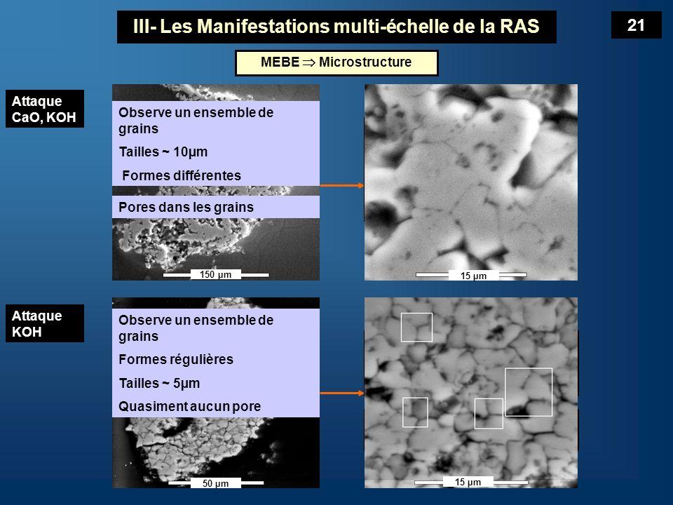 A léchelle de la microstructure : Observer leffet de la dissolution du granulat Morcellement en grains microscopiques = une augmentation importante de la surface réactionnelle du granulat Leffet du K responsable de la dissolution.