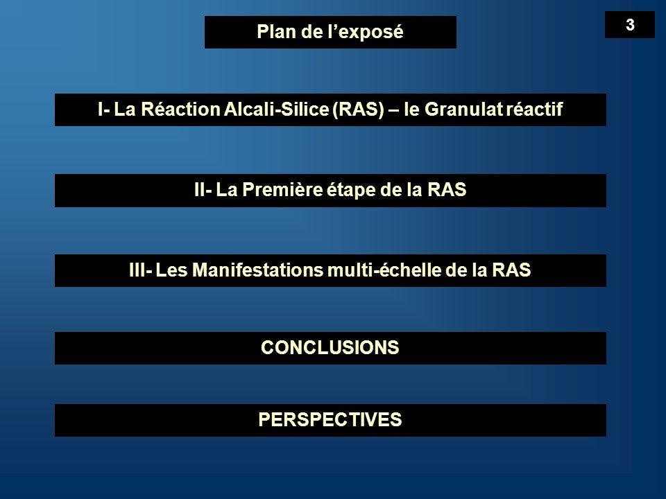 Plan de lexposé I- La Réaction Alcali-Silice (RAS) – le Granulat réactif II- La Première étape de la RAS III- Les Manifestations multi-échelle de la RAS CONCLUSIONS PERSPECTIVES 4