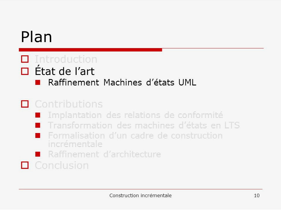 Construction incrémentale10 Plan Introduction État de lart Raffinement Machines détats UML Contributions Implantation des relations de conformité Tran