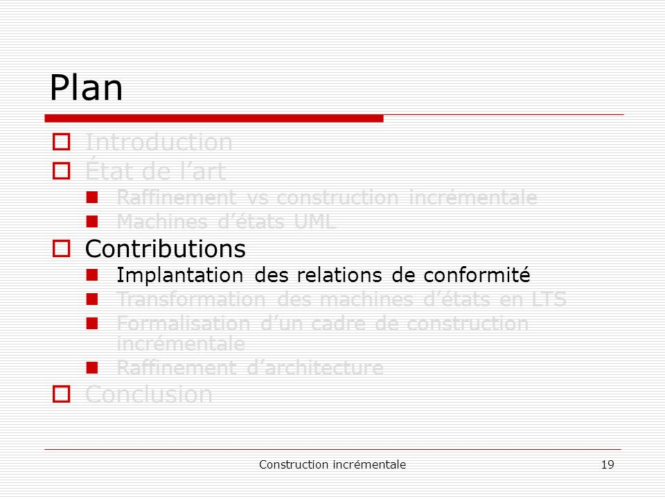 Construction incrémentale19 Plan Introduction État de lart Raffinement vs construction incrémentale Machines détats UML Contributions Implantation des