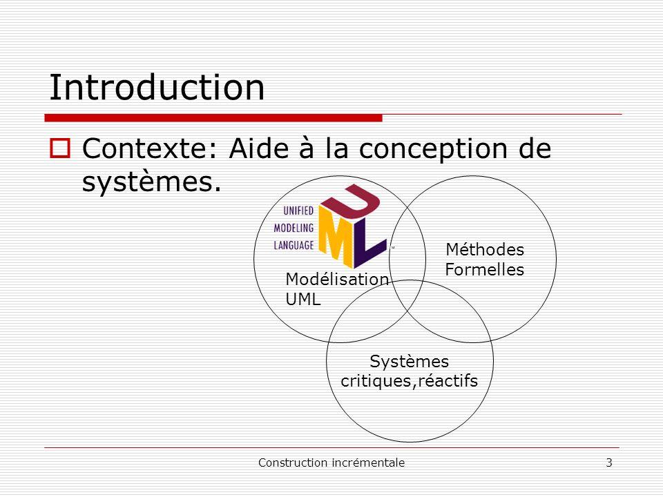 Construction incrémentale4 Introduction Contexte Systèmes critiques: si une défaillance peut conduire à des conséquences inacceptables en termes humains, économiques et environnementaux.