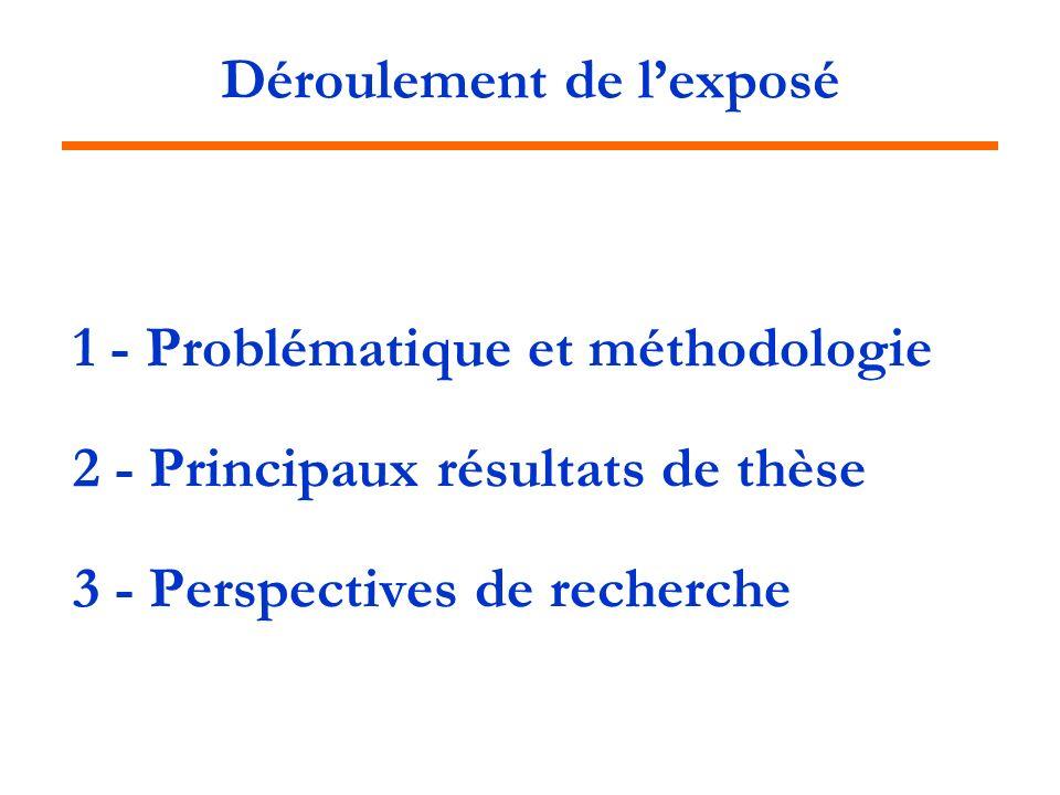 Déroulement de lexposé 1 - Problématique et méthodologie 2 - Principaux résultats de thèse 3 - Perspectives de recherche