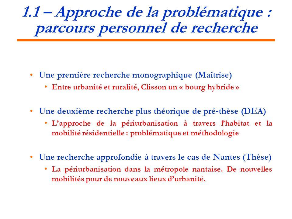 1.1 – Approche de la problématique : parcours personnel de recherche Une première recherche monographique (Maîtrise) Entre urbanité et ruralité, Cliss