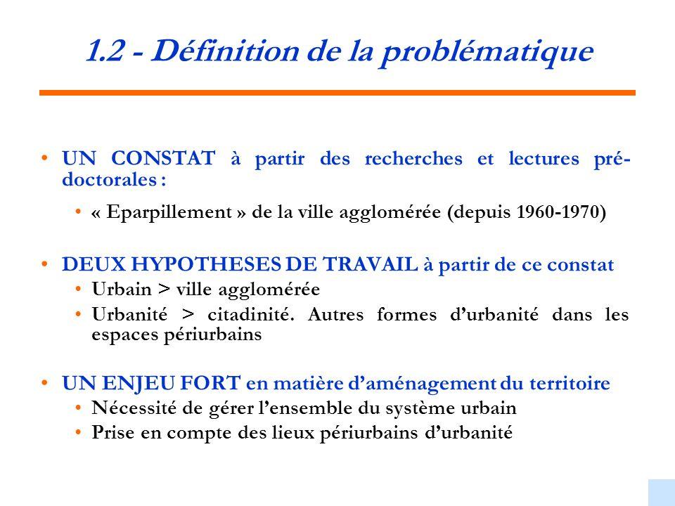 1.2 - Définition de la problématique UN CONSTAT à partir des recherches et lectures pré- doctorales : « Eparpillement » de la ville agglomérée (depuis