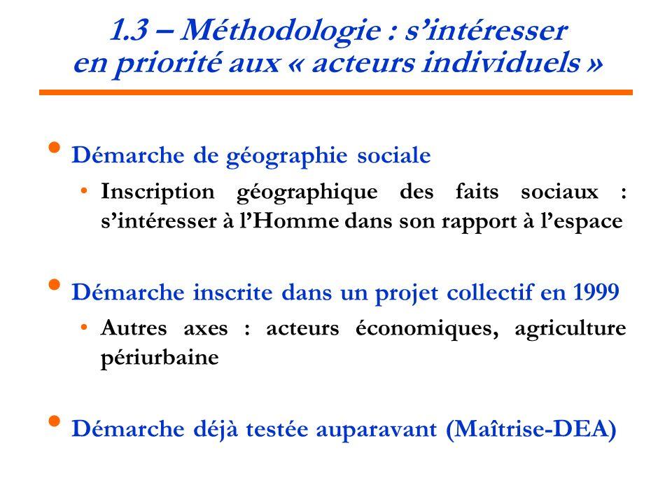1.3 – Méthodologie : sintéresser en priorité aux « acteurs individuels » Démarche de géographie sociale Inscription géographique des faits sociaux : s