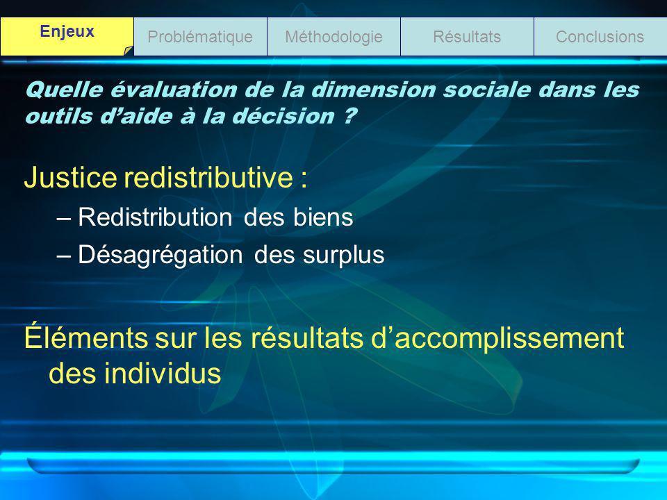 Quelle évaluation de la dimension sociale dans les outils daide à la décision ? Justice redistributive : –Redistribution des biens –Désagrégation des