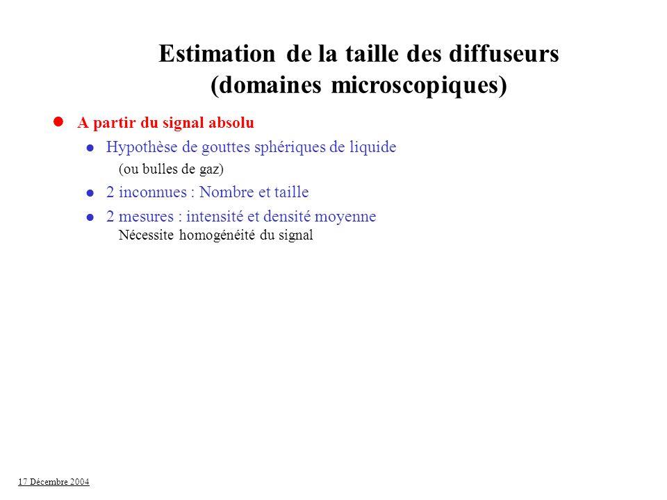 17 Décembre 2004 lA partir du signal absolu l Hypothèse de gouttes sphériques de liquide (ou bulles de gaz) l 2 inconnues : Nombre et taille l 2 mesur