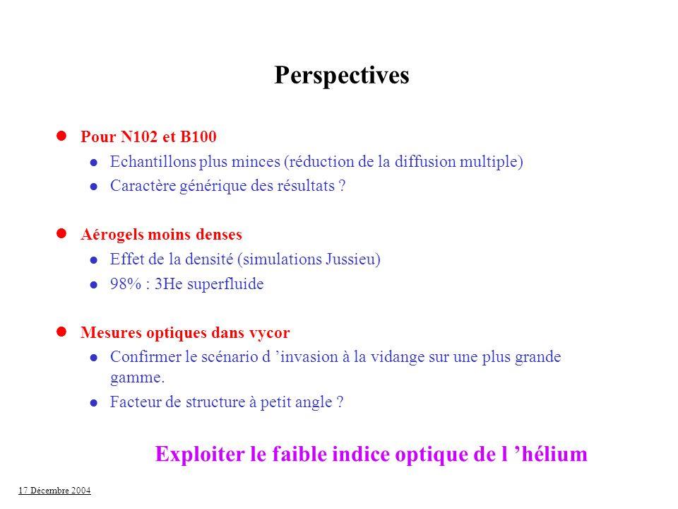 17 Décembre 2004 Perspectives lPour N102 et B100 l Echantillons plus minces (réduction de la diffusion multiple) l Caractère générique des résultats ?