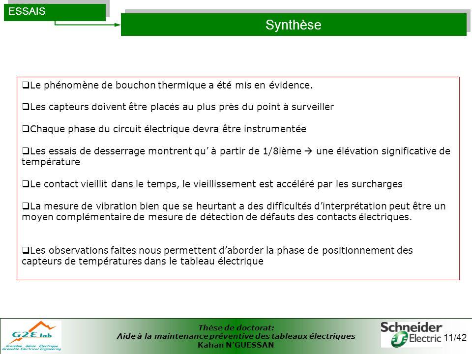 Thèse de doctorat: Aide à la maintenance préventive des tableaux électriques Kahan NGUESSAN 11/42 Synthèse ESSAIS Le phénomène de bouchon thermique a