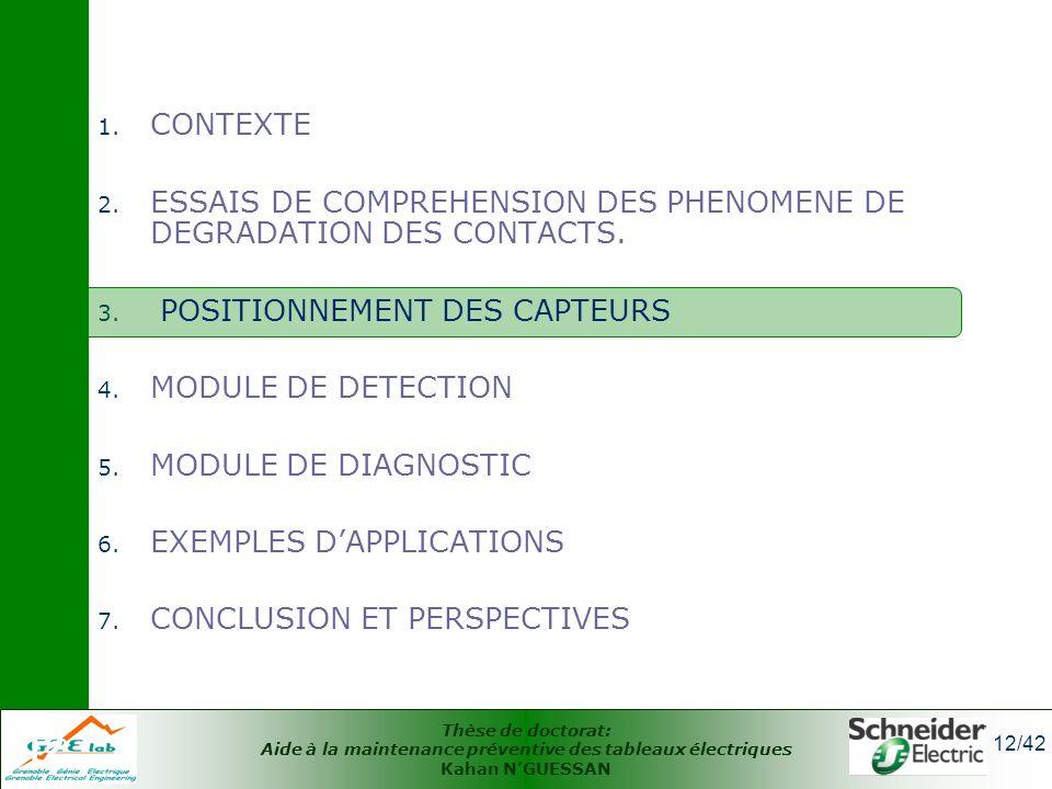 Thèse de doctorat: Aide à la maintenance préventive des tableaux électriques Kahan NGUESSAN 12/42 12 1. CONTEXTE 2. ESSAIS DE COMPREHENSION DES PHENOM