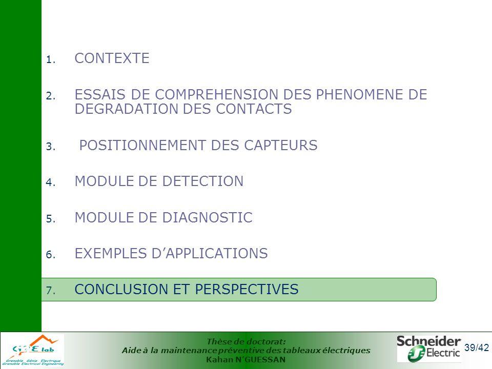 Thèse de doctorat: Aide à la maintenance préventive des tableaux électriques Kahan NGUESSAN 39/42 39 1. CONTEXTE 2. ESSAIS DE COMPREHENSION DES PHENOM