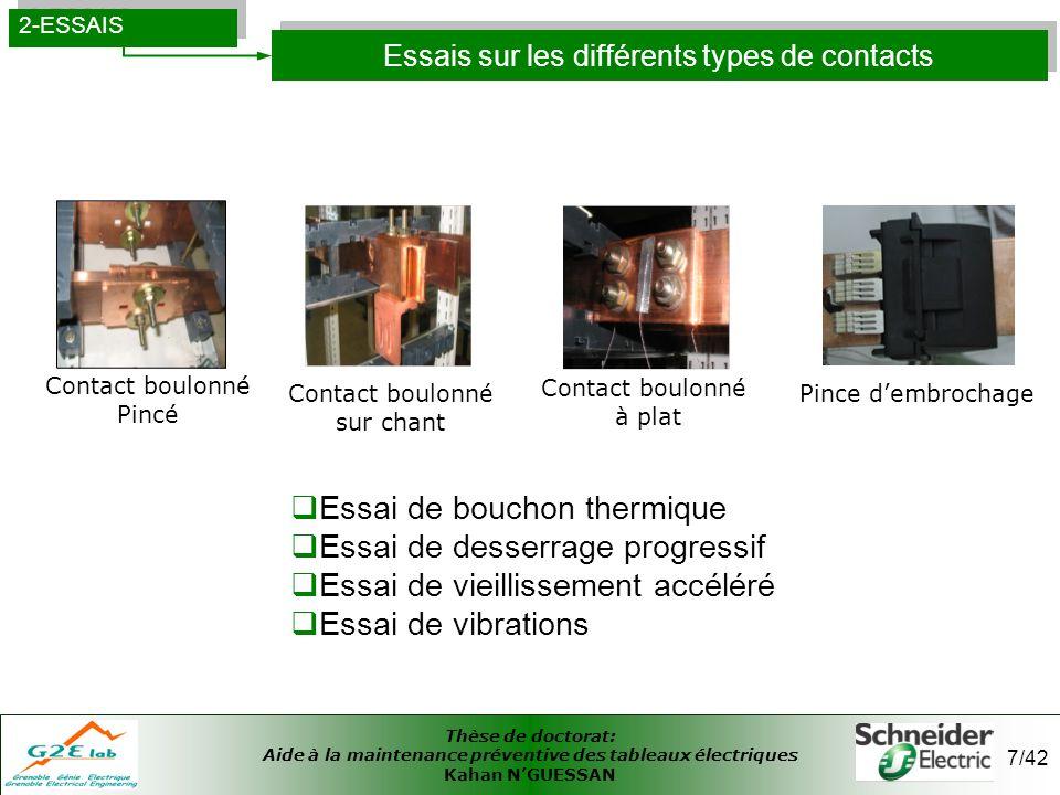 Thèse de doctorat: Aide à la maintenance préventive des tableaux électriques Kahan NGUESSAN 7/42 Essais sur les différents types de contacts 2-ESSAIS