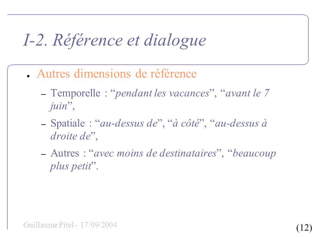 (12) Guillaume Pitel - 17/09/2004 I-2.