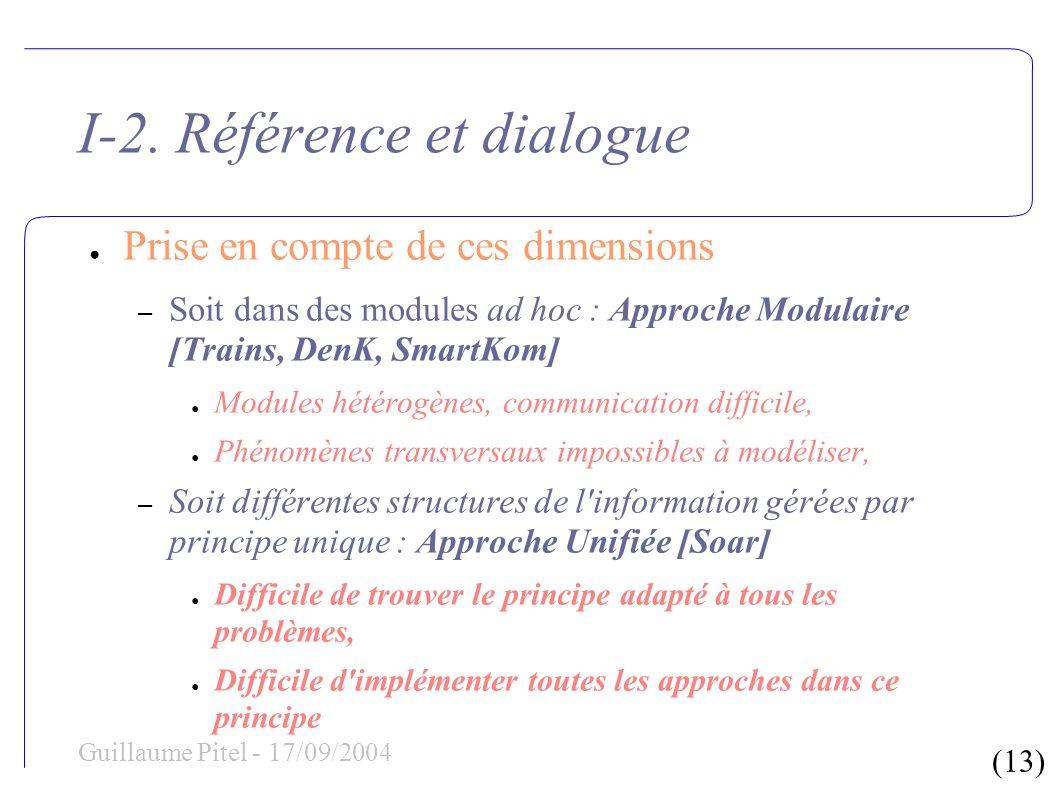 (13) Guillaume Pitel - 17/09/2004 I-2. Référence et dialogue Prise en compte de ces dimensions – Soit dans des modules ad hoc : Approche Modulaire [Tr