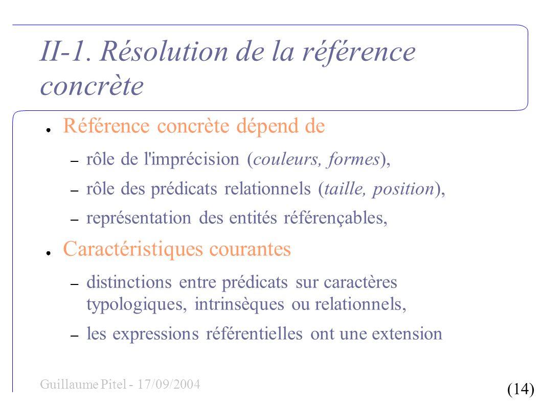 (14) Guillaume Pitel - 17/09/2004 II-1. Résolution de la référence concrète Référence concrète dépend de – rôle de l'imprécision (couleurs, formes), –
