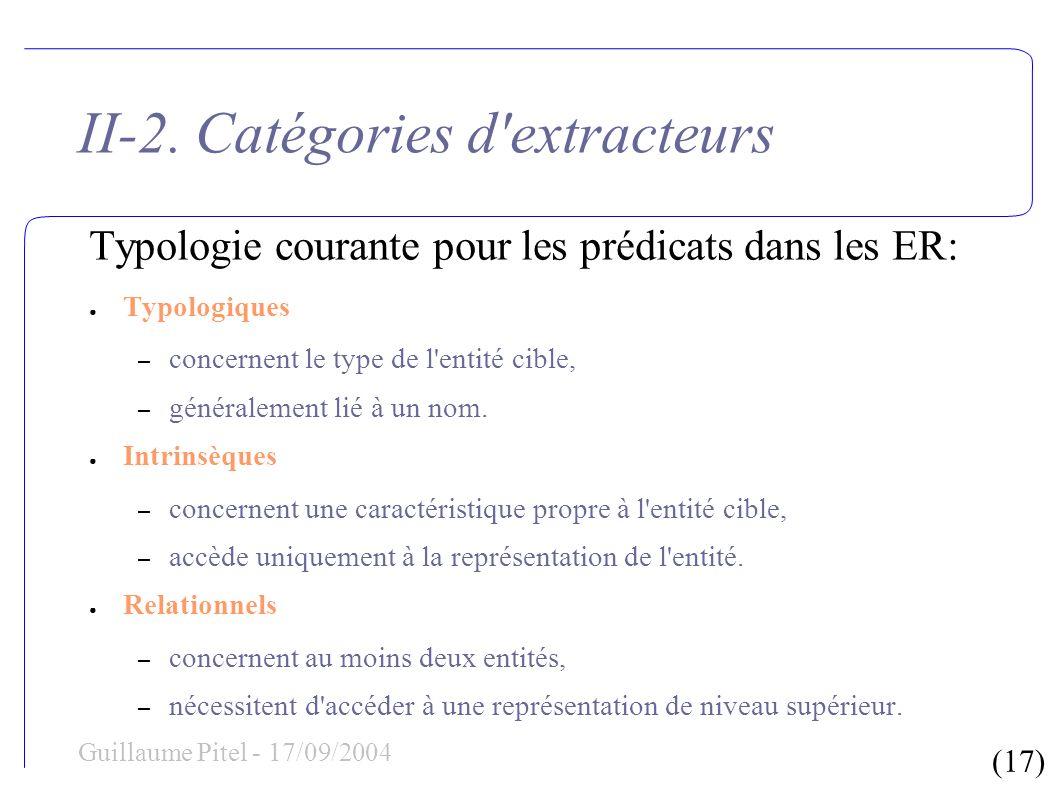 (17) Guillaume Pitel - 17/09/2004 II-2. Catégories d'extracteurs Typologie courante pour les prédicats dans les ER: Typologiques – concernent le type
