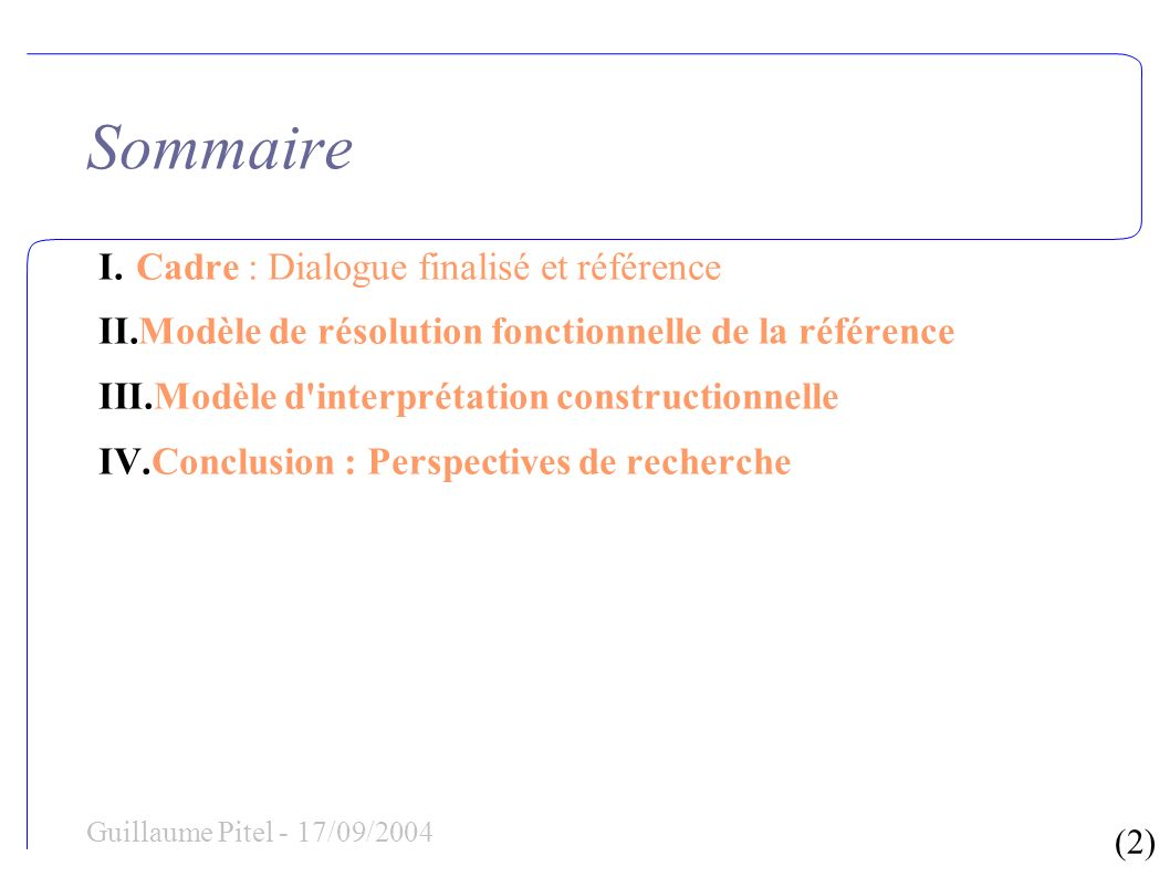 (13) Guillaume Pitel - 17/09/2004 I-2.