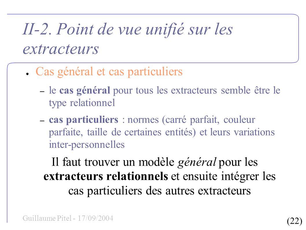 (22) Guillaume Pitel - 17/09/2004 II-2. Point de vue unifié sur les extracteurs Cas général et cas particuliers – le cas général pour tous les extract