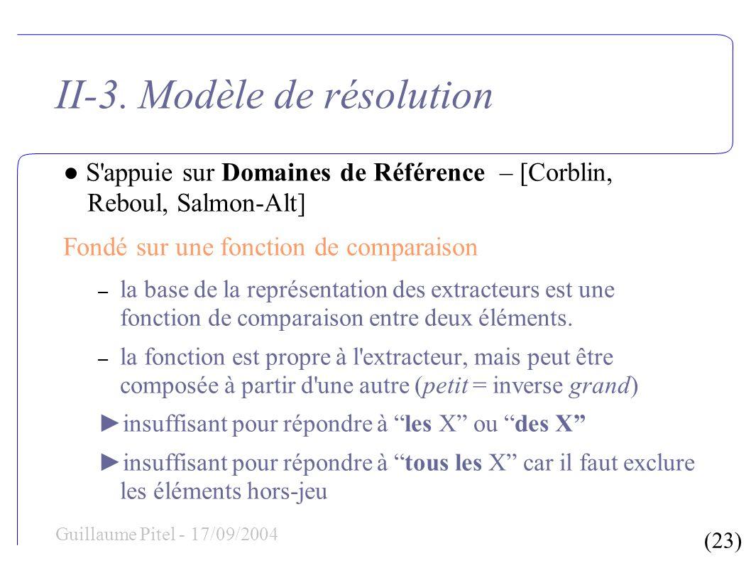 (23) Guillaume Pitel - 17/09/2004 II-3. Modèle de résolution S'appuie sur Domaines de Référence – [Corblin, Reboul, Salmon-Alt] Fondé sur une fonction