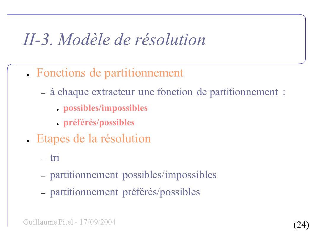 (24) Guillaume Pitel - 17/09/2004 II-3. Modèle de résolution Fonctions de partitionnement – à chaque extracteur une fonction de partitionnement : poss