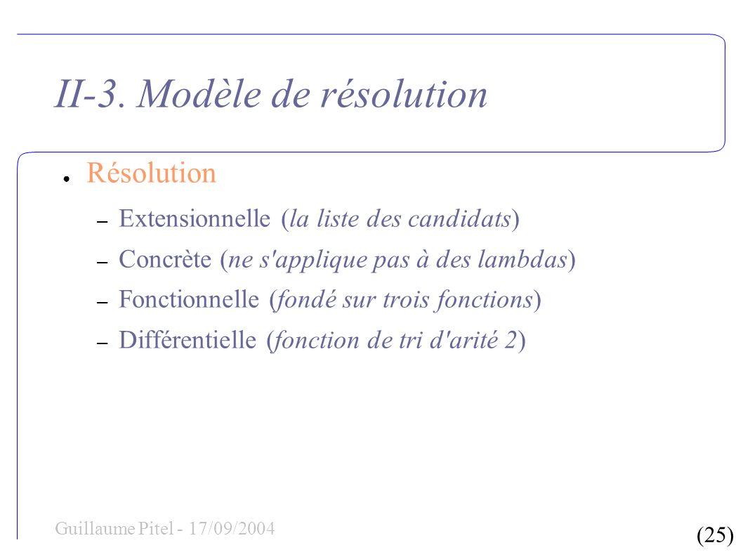 (25) Guillaume Pitel - 17/09/2004 II-3. Modèle de résolution Résolution – Extensionnelle (la liste des candidats) – Concrète (ne s'applique pas à des